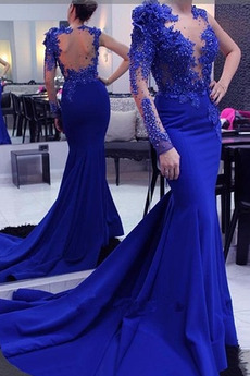 Ένας Ώμος Μακρύ Μανίκι εξώπλατο Φυσικό Ντραπέ Μπάλα φορέματα