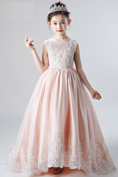 Αμάνικο Δαντέλα-επάνω Χειμώνας Σατέν Κόσμημα Λουλούδι κορίτσι φορέματα