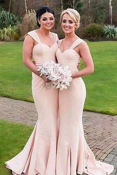 Αμάνικο Φερμουάρ επάνω Ευρεία λουριά Πολυτελές Παράνυμφος φορέματα