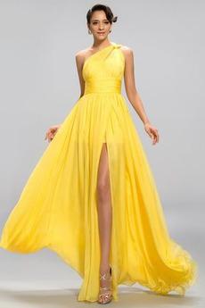 Οι πτυχωμένες μπούστο Ένας Ώμος απλός Ανάποδο Τρίγωνο Βραδινά φορέματα