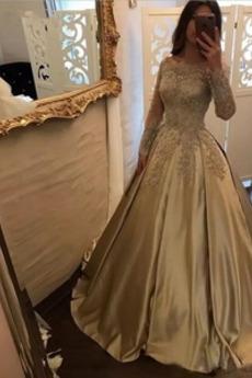 Ψευδαίσθηση Διακοσμητικά Επιράμματα Μακρύ Μανίκι Μπάλα φορέματα