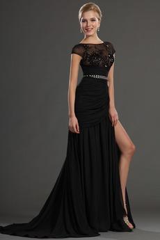 Μηρό-υψηλές σχισμή Μαύρο Ντραπέ Προσαρμοσμένες μανίκια Μπάλα φορέματα