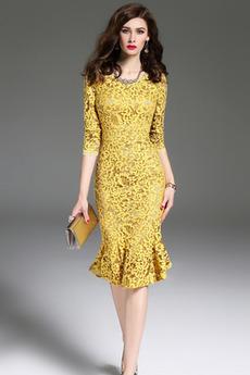 Βραδινά φορέματα Γοργόνα Φυσικό Φερμουάρ επάνω Κόσμημα Μέχρι το Γόνατο