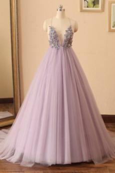 Μπάλα φορέματα εξώπλατο Καλοκαίρι Ρομαντικό Μακρύ Έτος 2019 Λαιμόκοψη V