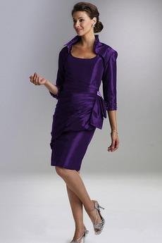πιέτα Θήκη Μέχρι το Γόνατο Κοντομάνικο Ευρεία λουριά Μητέρα φόρεμα