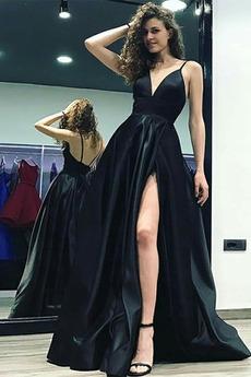 Αμάνικο Μπροστινό Σκίσιμο Βαθιά v-λαιμός Βραδινά φορέματα