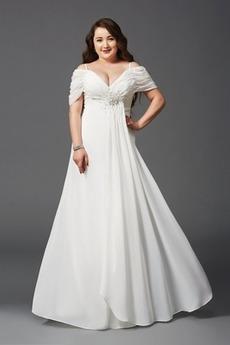 Σιφόν Πολυτελές Χαλαρά μανίκια Οι πτυχωμένες μπούστο Βραδινά φορέματα