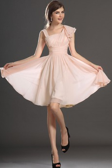 Αμάνικο απλός Σιφόν Καλοκαίρι Ασύμμετρη λαιμό Βραδινά φορέματα