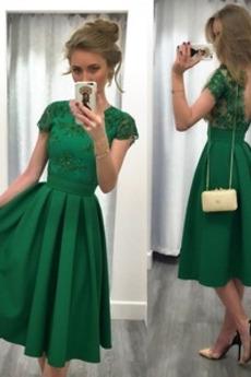 Κοντομάνικο Μέχρι το Γόνατο Κόσμημα Φυσικό Βραδινά φορέματα