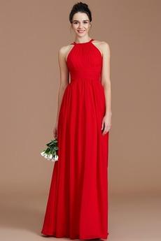 Ντραπέ Άνοιξη Αμάνικο Κόσμημα Γραμμή Α απλός Παράνυμφος φορέματα