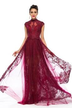 Φυσικό Τούλι Δαντέλα επικάλυψης Ρετρό Κοντομάνικο Βραδινά φορέματα
