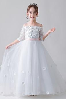 Χάνει Ψευδαίσθηση Μακρύ Μανίκι Τονισμένα ροζέτα Λουλούδι κορίτσι φορέματα