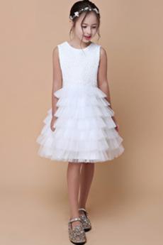 Φυσικό πολλαπλών στρώμα Φερμουάρ επάνω Σατέν Λουλούδι κορίτσι φορέματα