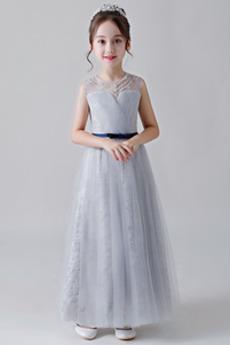 Αμάνικο Τούλι Φυσικό Μέχρι τον αστράγαλο Λουλούδι κορίτσι φορέματα