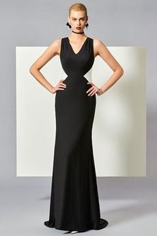 απλός Αμάνικο Φυσικό εξώπλατο Ντραπέ Μακρύ Βραδινά φορέματα