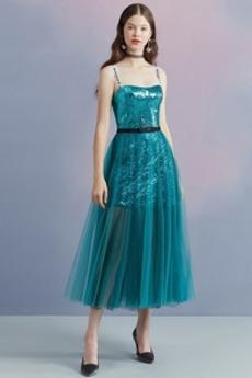 Γραμμή Α Τούλι Το μήκος τσάι Αμάνικο Φυσικό Κοκτέιλ φορέματα