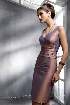 Αμάνικο Φερμουάρ επάνω πιέτα Μέχρι το Γόνατο Κοκτέιλ φορέματα