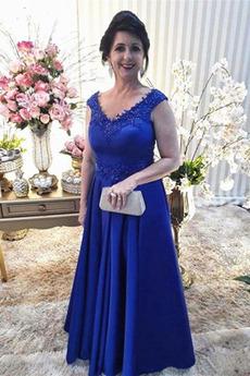 Μητέρα φόρεμα Βαθιά v-λαιμός Λαιμόκοψη V Σατέν Φερμουάρ επάνω Φυσικό