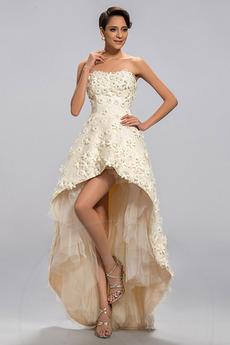 Επίσημη Σατέν Λουλούδι Αμάνικο Ασύμμετρη Βραδινά φορέματα