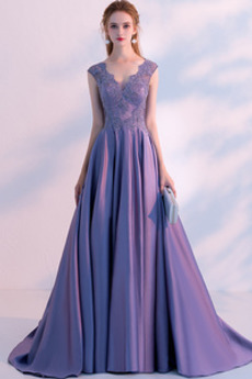 Φθινόπωρο Αμάνικο Γραμμή Α Δαντέλα επικάλυψης Μπάλα φορέματα