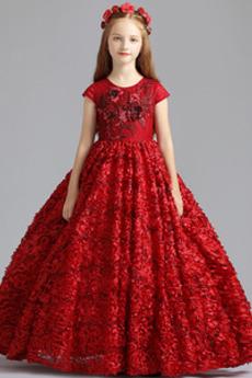 Λουλούδι κορίτσι φορέματα Φυσικό Γραμμή Α Επίσημη Χάνει Κόσμημα Φθινόπωρο