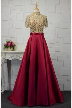 Φυσικό Κοντομάνικο Σατέν Υψηλή καλύπτονται Βραδινά φορέματα