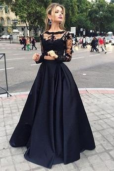 Σατέν Δαντέλα κούνια Ψευδαίσθηση Κομψό Καθαρή πλάτη Μπάλα φορέματα