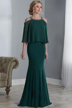 Υψηλή καλύπτονται Φυσικό Χαλαρά μανίκια Χάντρες Μητέρα φόρεμα