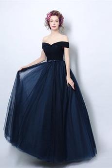 Προσαρμοσμένες μανίκια Κοντομάνικο Γραμμή Α Βραδινά φορέματα