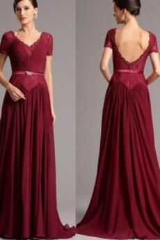 Δαντέλα Κοντομάνικο Οι πτυχωμένες μπούστο Μητέρα φόρεμα