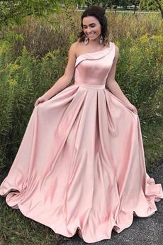 Μπάλα φορέματα εξώπλατο Κομψό & Πολυτελές Ένας Ώμος Σατέν Αμάνικο