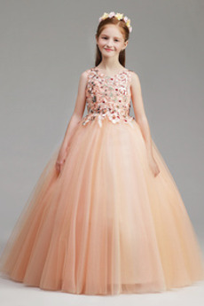 Λουλούδι κορίτσι φορέματα Έτος 2019 Φυσικό Μέχρι τον αστράγαλο Τούλι Κομψό & Πολυτελές