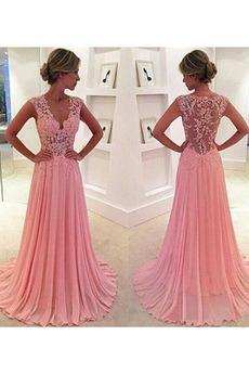 Καθαρή πλάτη Βαθιά v-λαιμός Αμάνικο Λαιμόκοψη V Βραδινά φορέματα