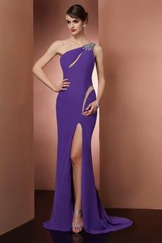 Έτος 2020 Φυσικό Αμάνικο Ένας Ώμος Μηρό-υψηλές σχισμή Μπάλα φορέματα