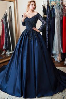 Σατέν Κόσμημα τονισμένο μπούστο Γραμμή Α Μπάλα φορέματα