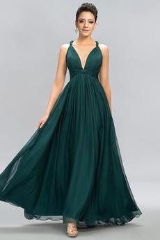 Αμάνικο Γραμμή Α Βαθιά v-λαιμός Λαιμόκοψη V Βραδινά φορέματα