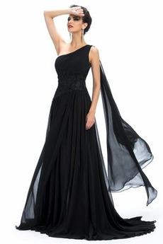 Φυσικό Κλεψύδρα Σιφόν Ένας Ώμος Αμάνικο Μακρύ Βραδινά φορέματα