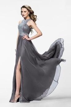 Χάνει Σιφόν Μακρύ Κρυστάλλινη Φυσικό Κόσμημα τονισμένο μπούστο Μπάλα φορέματα