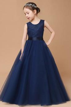 Δαντέλα Αμάνικο Τονισμένα τόξο Φερμουάρ επάνω Λουλούδι κορίτσι φορέματα