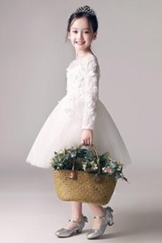 Επίσημη Γραμμή Α Μέχρι το Γόνατο Χάνει Δαντέλα επικάλυψης Λουλούδι κορίτσι φορέματα