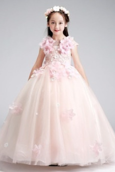 Μέχρι τον αστράγαλο Κόσμημα Τούλι Φυσικό Λουλούδι κορίτσι φορέματα