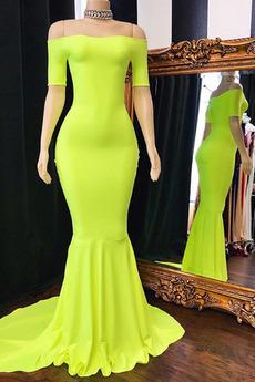 Βραδινά φορέματα Γοργόνα Ντραπέ Κοντομάνικο απλός Φυσικό Από τον ώμο