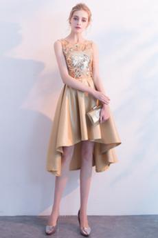 Φυσικό Αμάνικο Έναστρο Κόσμημα Σατέν Ασύμμετρη Κοκτέιλ φορέματα