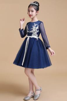 Κόσμημα Δαντέλα επικάλυψης Φερμουάρ επάνω Λουλούδι κορίτσι φορέματα