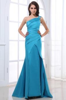 Λαμπερό Πλισέ Σατέν Αμάνικο Τα μέσα πλάτη Βραδινά φορέματα