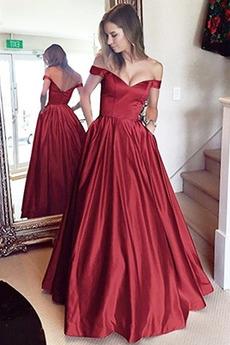 Κλεψύδρα Προσαρμοσμένες μανίκια Ντραπέ Μακρύ Μπάλα φορέματα