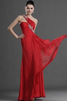 Σιφόν Τα μέσα πλάτη Χάνει Κομψό Πλισέ Μήκος πατωμάτων Βραδινά φορέματα