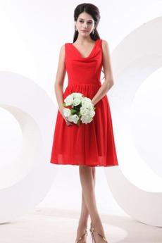 Λαιμόκοψη V Κόκκινο Φυσικό Μέχρι το Γόνατο Παράνυμφος φορέματα
