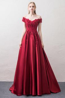Γραμμή Α Φυσικό Κλεψύδρα Δαντέλα επικάλυψης Μπάλα φορέματα