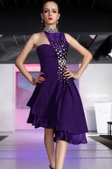 Φυσικό Τα μέσα πλάτη Ασύμμετρη Σατέν Υψηλός λαιμός Μπάλα φορέματα